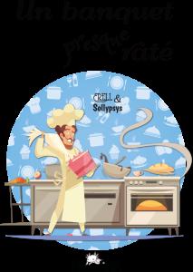 Couverture montrant un cuistot faisant dégouliner de la crème et une cuisine «remuante» !