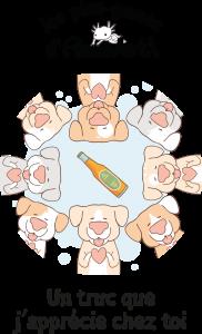 Couverture représentant des chiens tout mimis, en cercle et tenant un cœur, avec une bouteille au centre